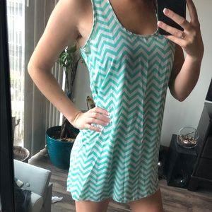 Chevron Teal Dress